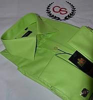 Салатовая мужская классическая под запонку рубашка ENRICO (размер 39. 40. 41. 42. 43. 44. 45. 46)