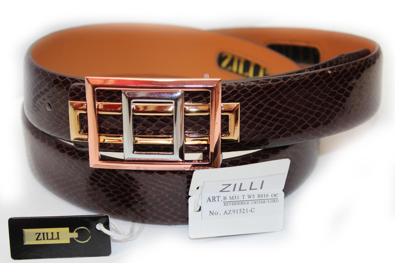 Ремінь з натуральної шкіри брендовий чоловічий жіночий шкіра Zilli репліка преміум копія