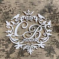 Монограмма на свадьбу из дерева ( птички ,корона)