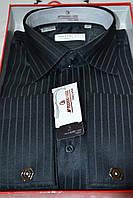 Мужская черная под запонку рубашка FERRERO GIZZI (размер 39.40.41.42.43.44.45) 1 скл.