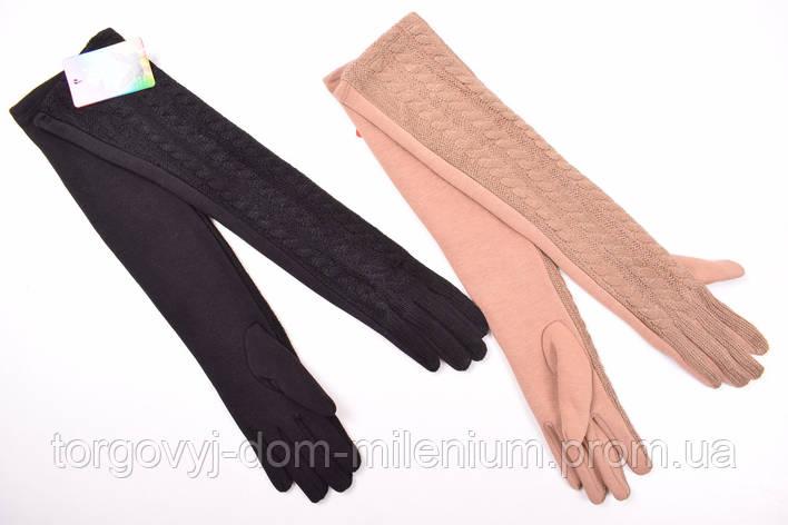 Перчатки женские удлиненные трикотажные комбинированные  PAIDI 112-1, фото 2