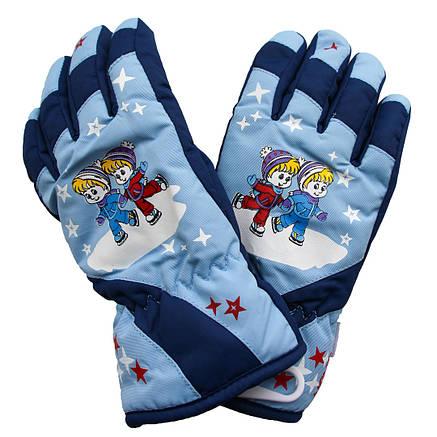 Дитячі зимові теплі водонепроникні рукавички 4-8 років сині, фото 2