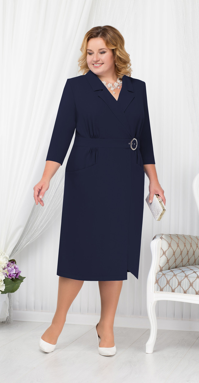 Платье Ninele-5670/2 белорусский трикотаж, темно-синий, 54