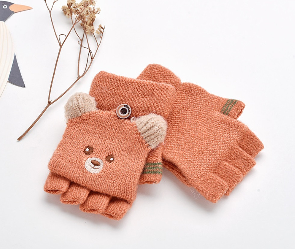 """Перчатки """"Мишки""""  коричневые"""