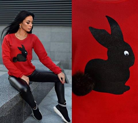 Женский свитшот трехнить утеплен флисом с зайцем цвет красный, фото 2