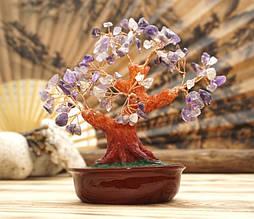 Дерево счастья Аметист натуральный камень (высота 21 см)