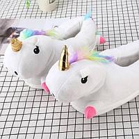 Женские тапочки игрушки Единороги белые,36-42