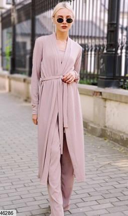 Кардиган+брюки+топ Модный костюм-тройка  в пижамном стиле из ангоры размеры 42-44, 46-48, фото 2