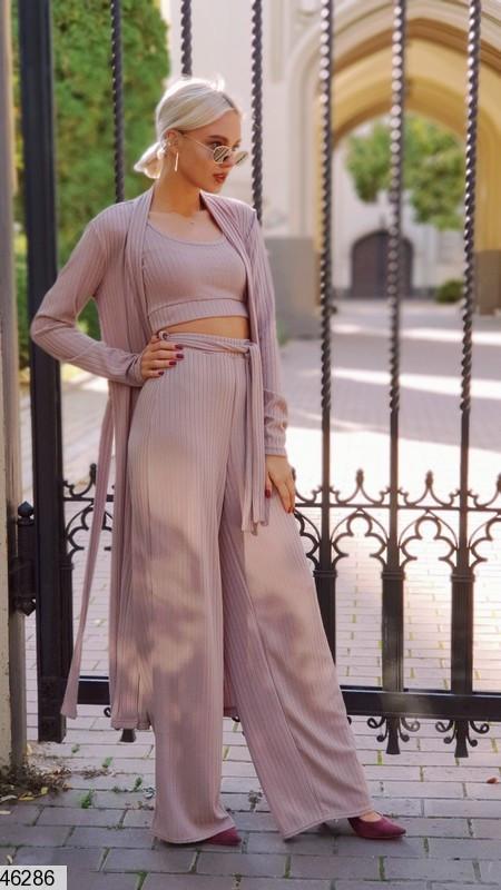 Кардиган+брюки+топ Модный костюм-тройка  в пижамном стиле из ангоры размеры 42-44, 46-48