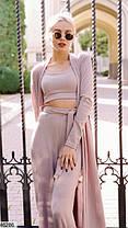 Кардиган+брюки+топ Модный костюм-тройка  в пижамном стиле из ангоры размеры 42-44, 46-48, фото 3