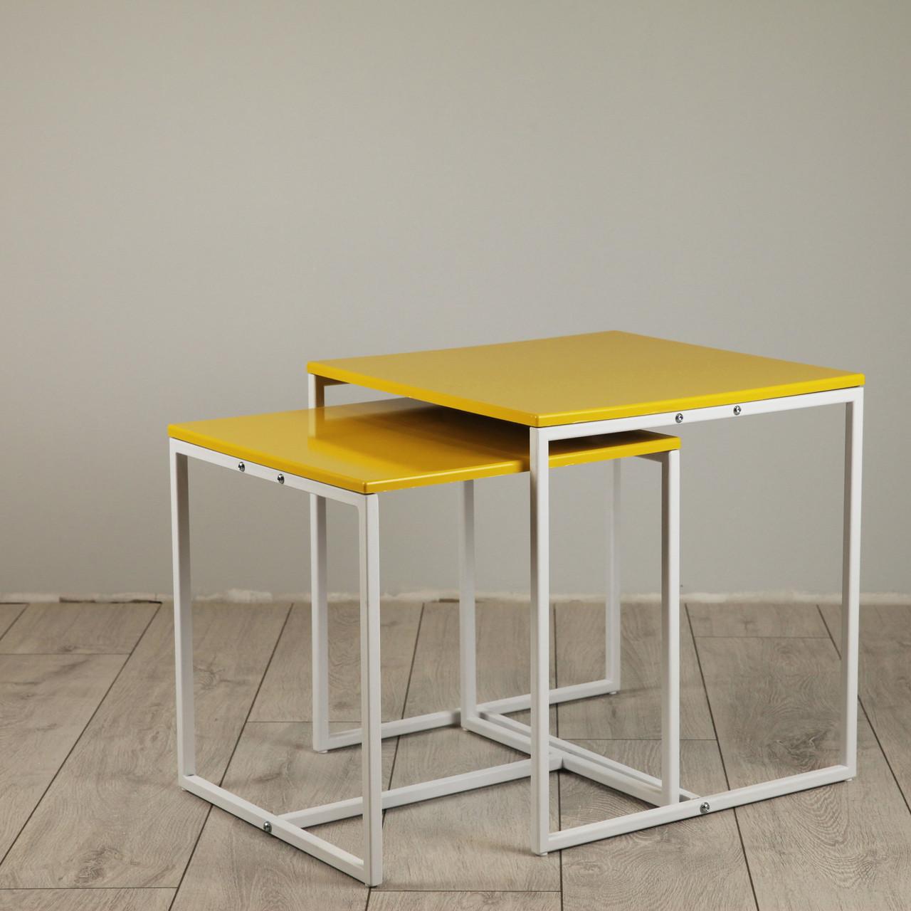 Комплект столов журнальных Куб 400 и Куб 450 - Желтый / белый (Loft Cub yellow-white)