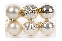 Набор елочных шаров 6см, цвет - светлое золото, 6 шт: мат, глянец, глянец с рельефом - по 2 шт, фото 1