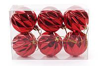 Набор елочных шаров (6 шт) 6см, красный, фото 1