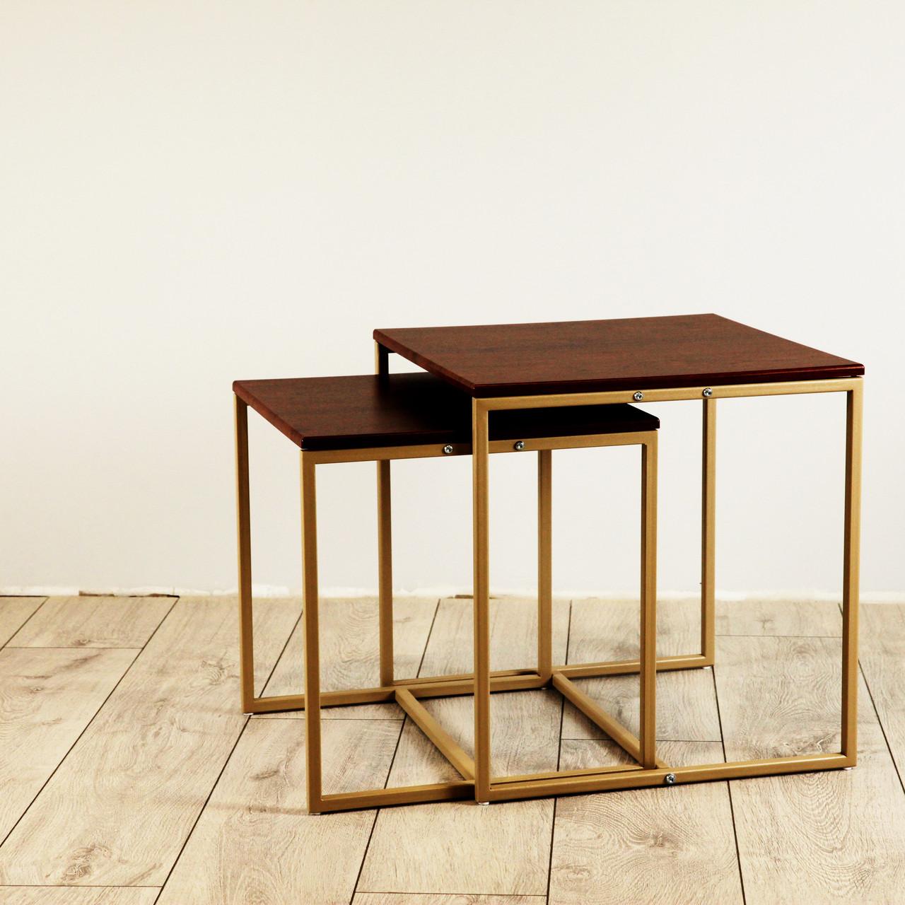 Комплект столов журнальных Куб 400 и Куб 450 - Кедр матовый / бежевый (Loft Cub kedr-beige)