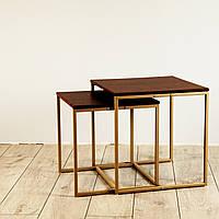 Комплект столов журнальных Куб 400 и Куб 450 - Кедр матовый / бежевый (Loft Cub kedr-beige), фото 1