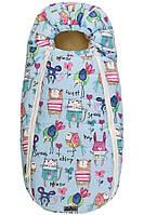 Конверт для новорожденного на овчине ДоРечі Baby XS рисунки на голубом фоне