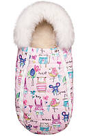 Конверт-кокон с опушкой на овчине ДоРечі Baby XS рисунки на розовом фоне
