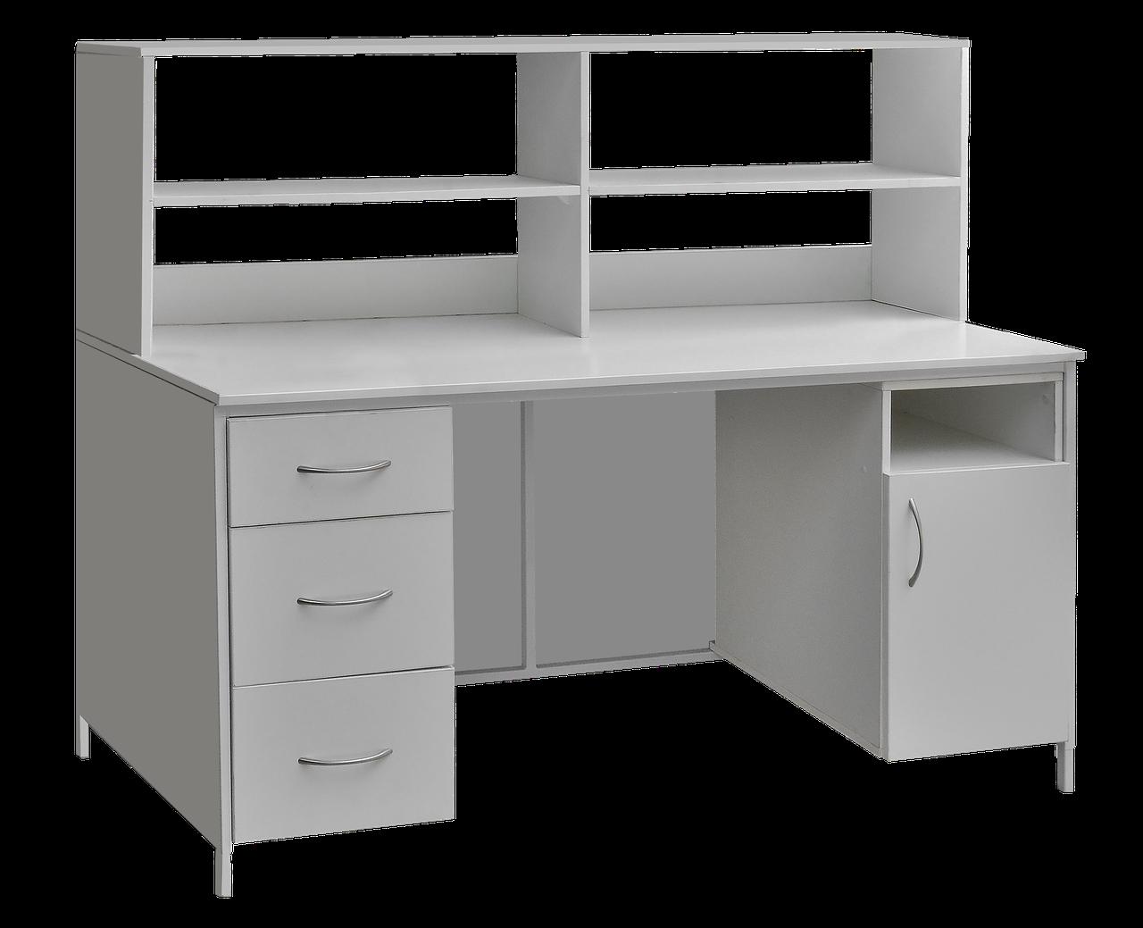 Стол лабораторный с выдвижными ящиками, закрывающейся тумбой и верхней надстройкой сл-001 медицинский Завет