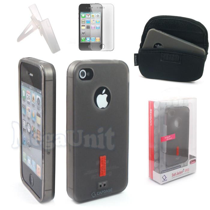 4в1 Capdase Soft Jacket 2 Xpose. Apple iPhone 4 / 4S. Силиконовый чехол (+пленка+сумка+упор)