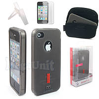 4в1 Capdase Soft Jacket 2 Xpose. Apple iPhone 4 / 4S. Силиконовый чехол (+пленка+сумка+упор), фото 1