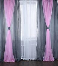 Комплект декоративных портьер из шифона с подхватами, цвет серый с розовым 005дк