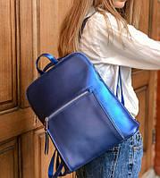 Сумка рюкзак трансформер синий электрик в натуральной коже