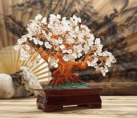 Дерево счастья Горный Хрусталь натуральный камень (высота 22,5 см)