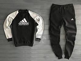 Зимний мужской спортивный костюм Adidas черно-серого цвета