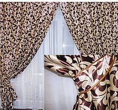 Комплект готовых штор  блэкаут, двусторонний. Цвет коричневый  044ш (А)