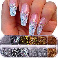Декор голографический для декора ногтей, набор 12 видов., фото 1