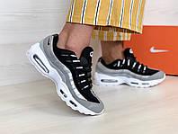 Кроссовки женские в стиле Nike Air Max 95 код товара 4S-1101. Серебристые с черным