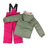 Зимний комплект для девочки PELUCHE F18 M 64 EF Khaki / Berry. Размеры 3-8., фото 2