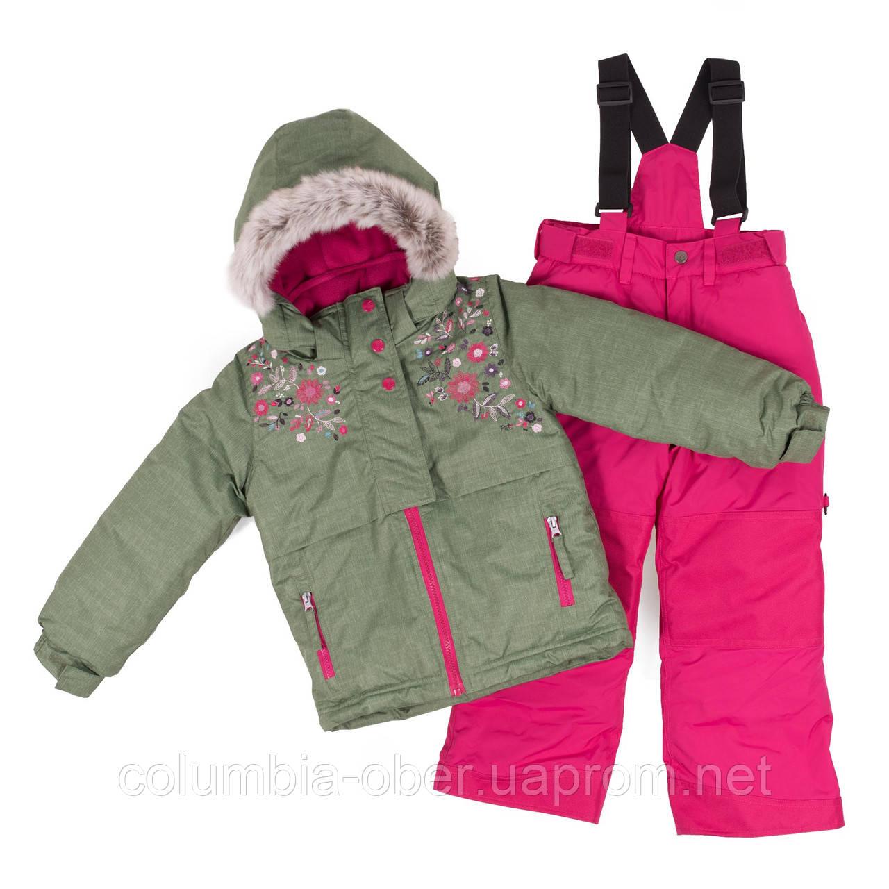 Зимний комплект для девочки PELUCHE F18 M 64 EF Khaki / Berry. Размеры 3-8.