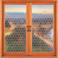 Самоклеющаяся декоративная наклейка на окно В горошек (матовая пленка, виниловая, от солнца)