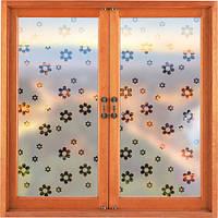 Самоклеющаяся декоративная наклейка на окно Ромашки (матовая пленка, виниловая, от солнца)