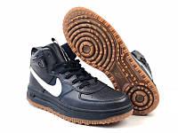 Кроссовки мужские в стиле Nike Lunar Force 1 код товара 4S-1118. Черные с белым