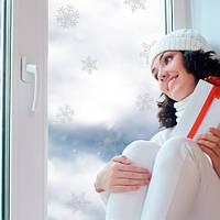Новогодний декор наклейка на стекло Хрустальные снежинки (виниловая матовая самоклеющаяся пленка) матовая Комплект 19 шт., фото 1