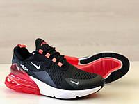 Кроссовки мужские в стиле Nike Air Max 270 код товара 4S-1087. Черно-белые с красным
