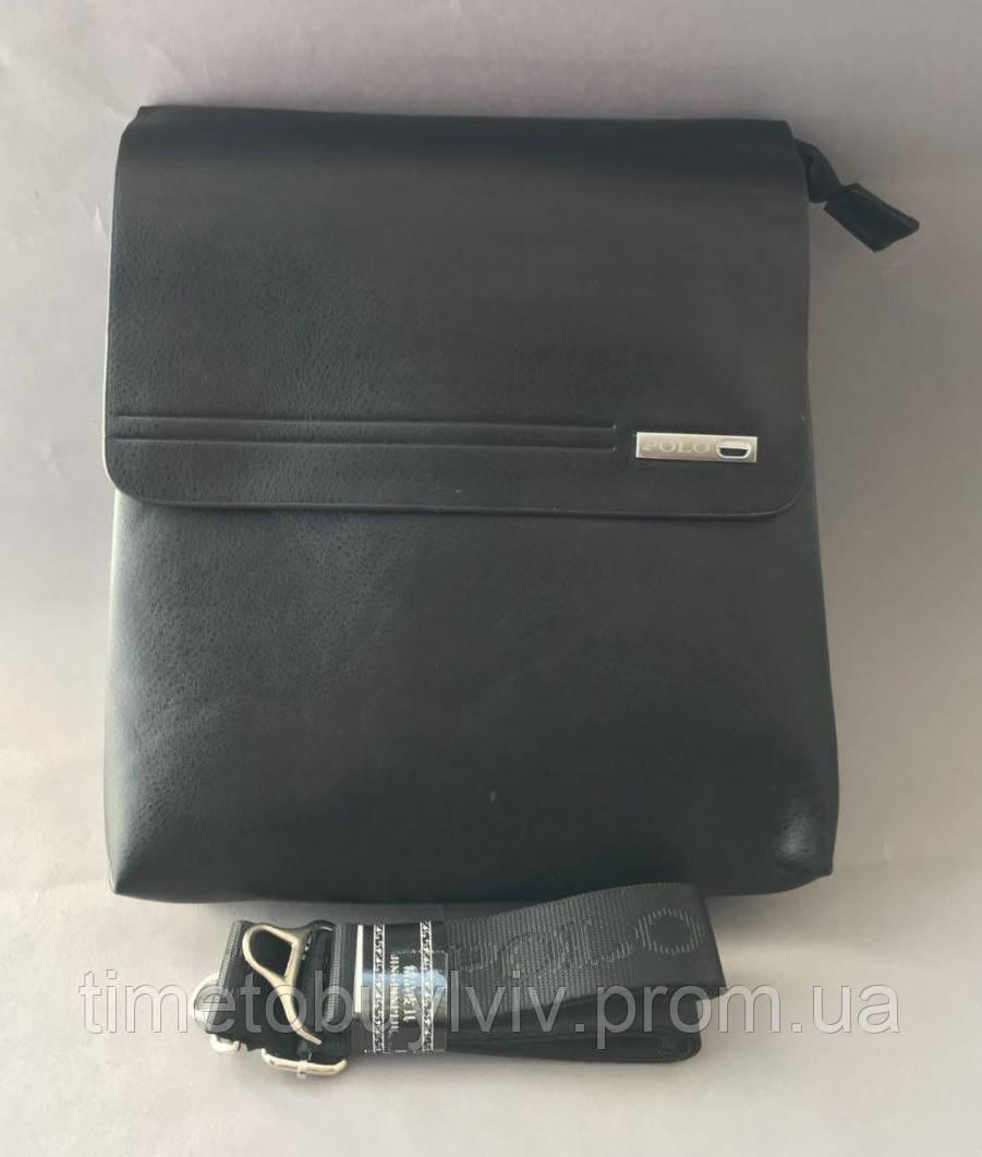Кожаная мужская сумка Polo Videng Badge Чёрная