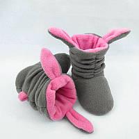 """Тапочки с ушками """"Зайки"""" серо розовые, фото 1"""