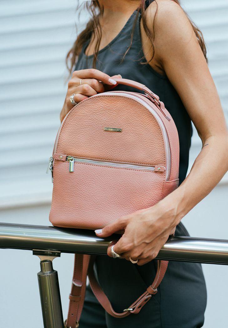 Рюкзак-сумка кожаный женский розовый (ручная работа)