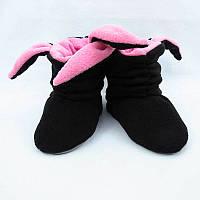 Тапочки с ушками «Зайки» черно розовые, фото 1
