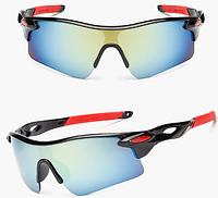 Солнцезащитные спортивные очки Robesbon (велоочки) с красными дужками