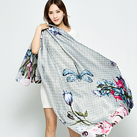 Разноцветный шарф с принтом Цветы и стрекозы