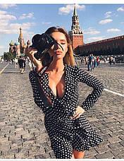 Платье с рюшами  на запах в горошек , фото 2