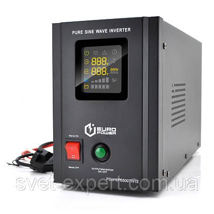 ИБП с правильной синусоидой Europower PSW-EPB500TW12 (300 Вт) 5/10А, под внешнюю АКБ 12В, Q2 5,23 кг, фото 2