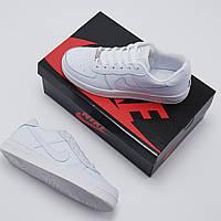 Женские кроссовки Nike Air Force белые, кожаные  ( реплика ААА класса)