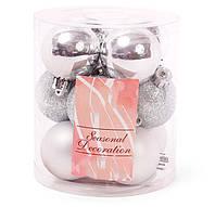 Набор елочных шаров 4см, цвет - серебро, 12 шт: глянец, матовый, глитер - по 4 шт, фото 1