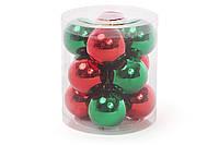 Набор елочных шаров 4см, 12шт: микс двух цветов красный и зеленый, по 6 шт в каждом цвете