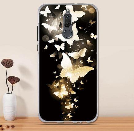Силиконовый чехол бампер для Huawei Mate 10 Lite с картинкой Золотые бабочки